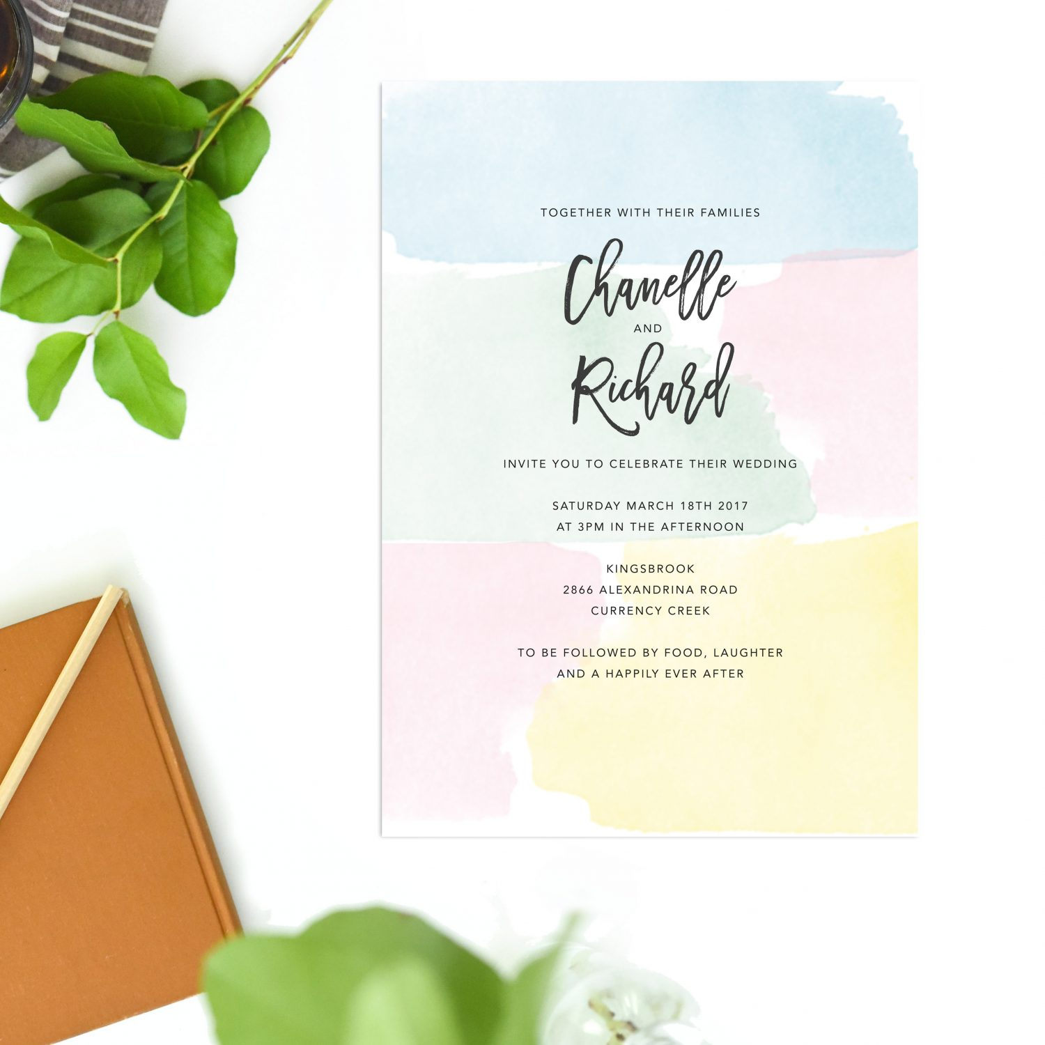 Pastel Watercolour Wedding Invitations Sail and Swan