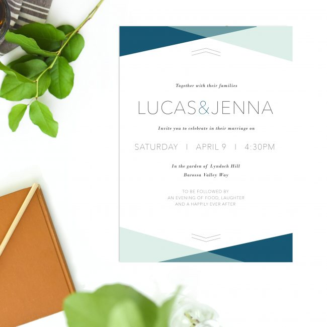 Minimal Wedding Invitations Blue Mint Green Turquoise beach Wedding Modern Wedding Invites Australia Perth Sydney Melbourne Brisbane Adelaide Sail and Swan
