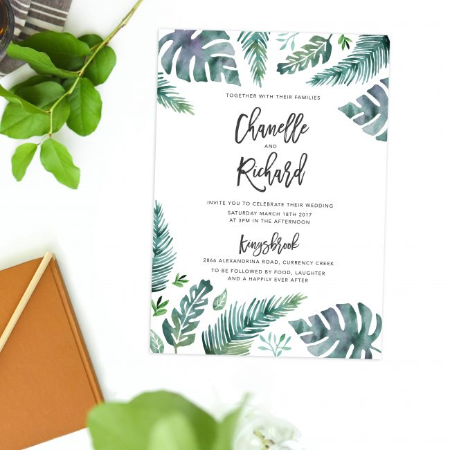 Tropical Wedding Invitations watercolour monstera wedding stationery australia adelaide perth sydney melbourne brisbane sail and swan