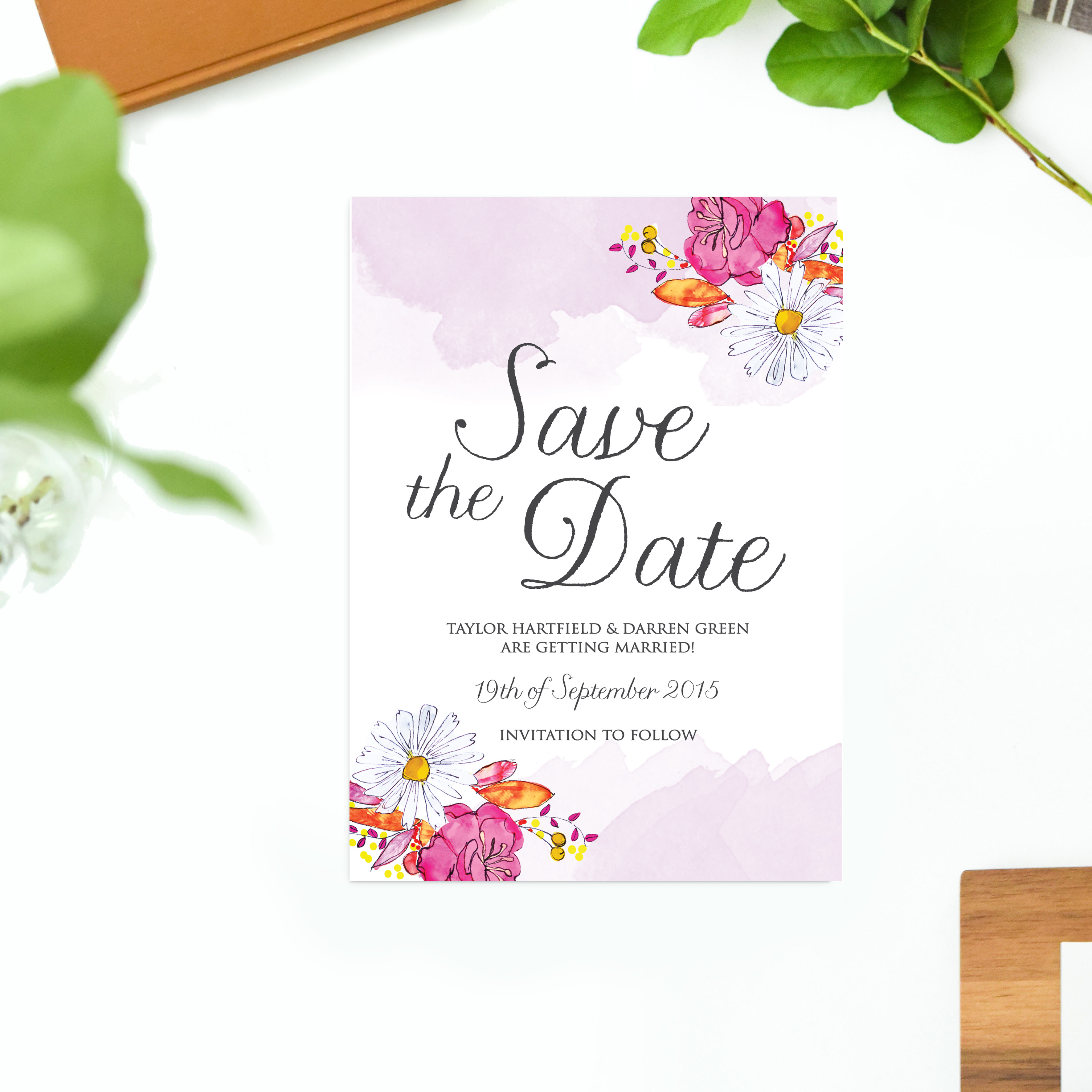Watercolour Flower Wedding Invitations Sail and Swan