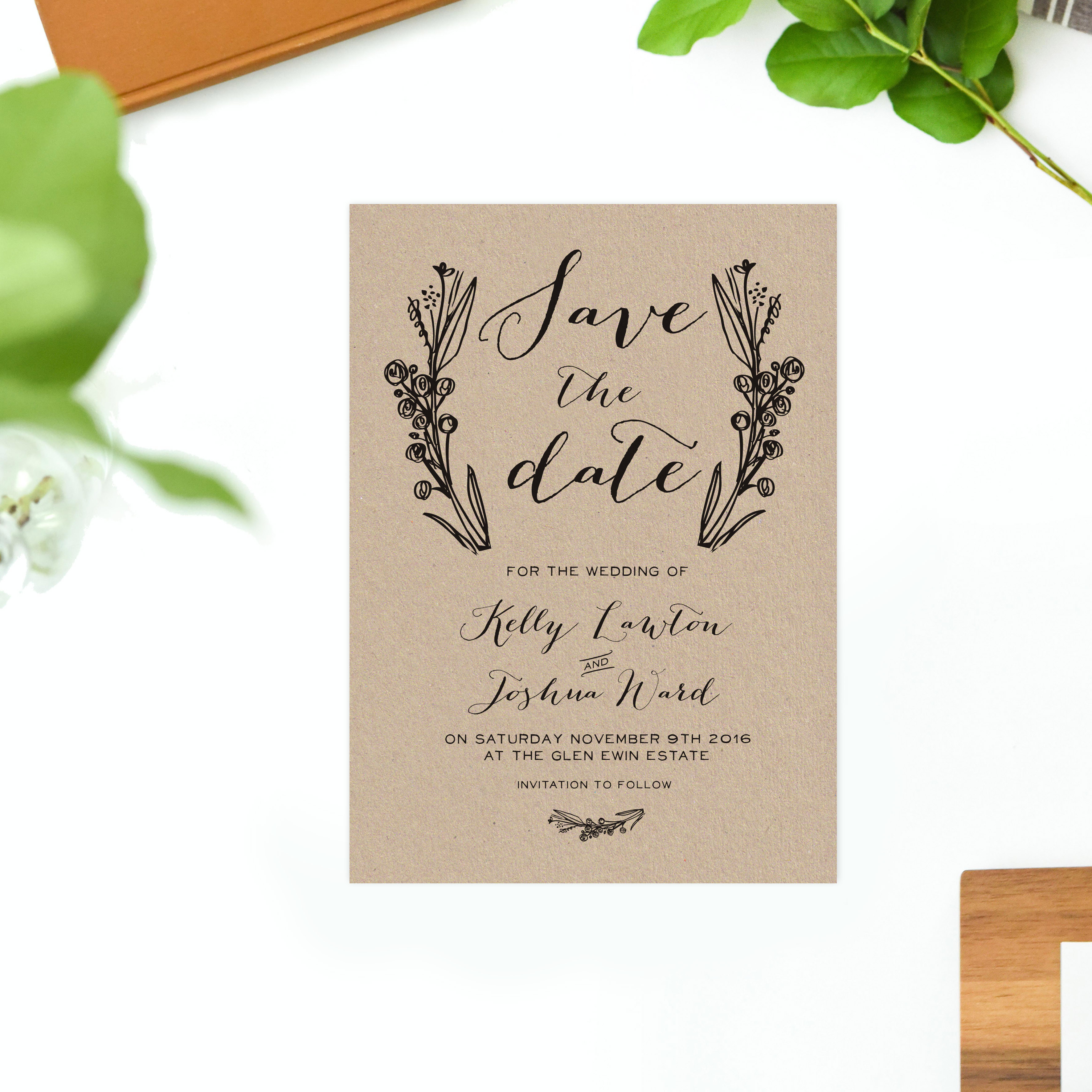 Native Flora Brown Kraft Wedding Invitations