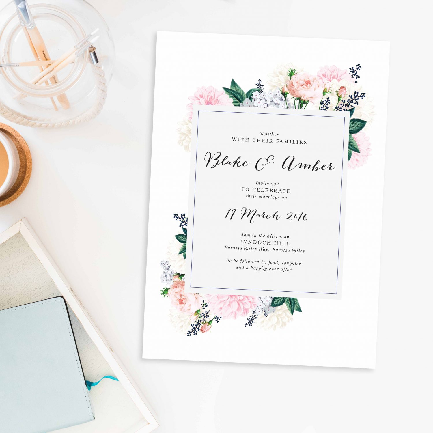 Elegant Dahlia Pastel Floral Wedding Invitations - Pink Roses Navy ...