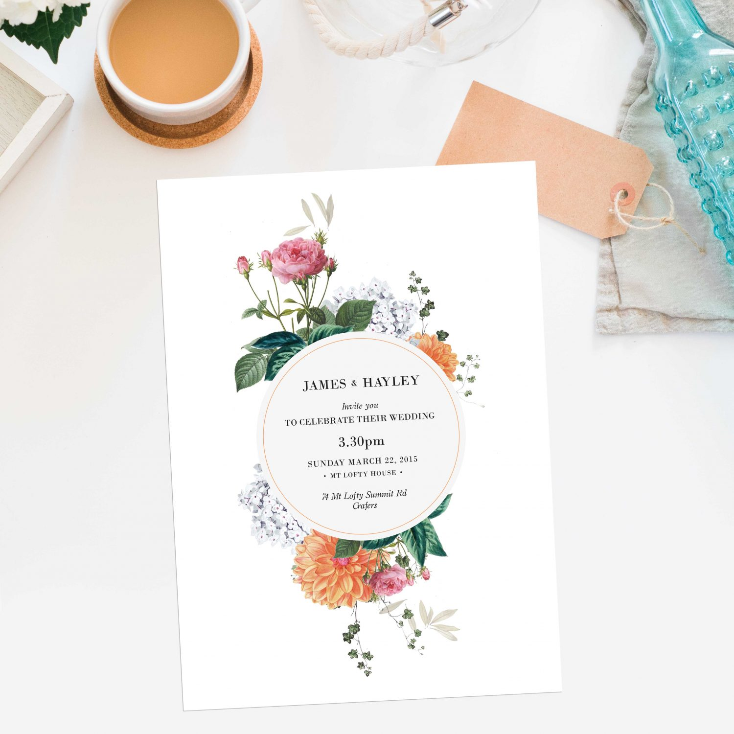 Vintage Botanical Pink Orange Peach Wedding Invitations - Dahlia ...