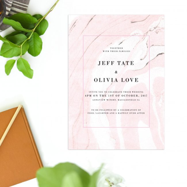 Pink Marble Wedding Invitations Modern Wedding Stationery Australia Perth Sydney Melbourne Brisbane Adelaide Sail and Swan