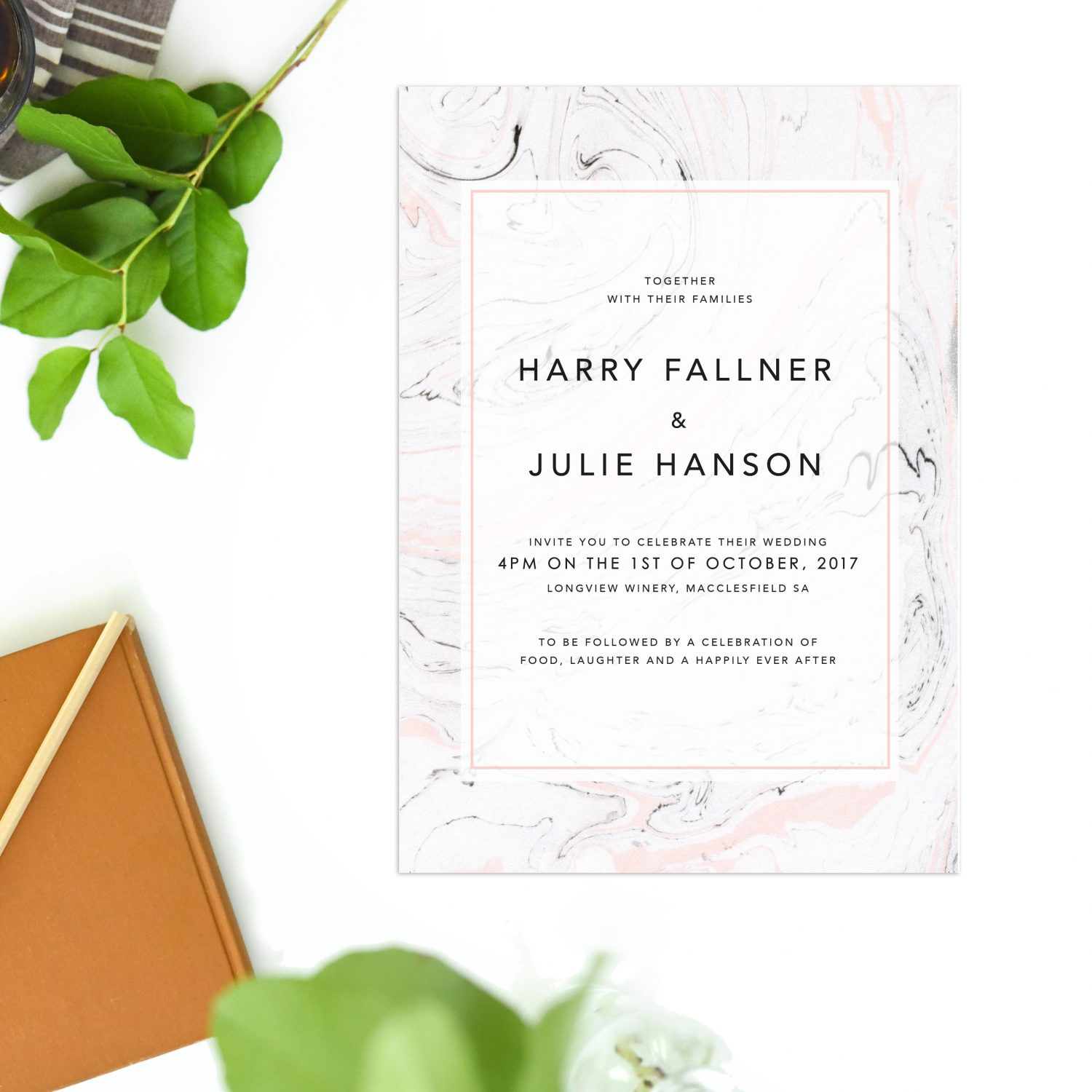Pink Marble Wedding Invitations Precious Stone Sail and Swan