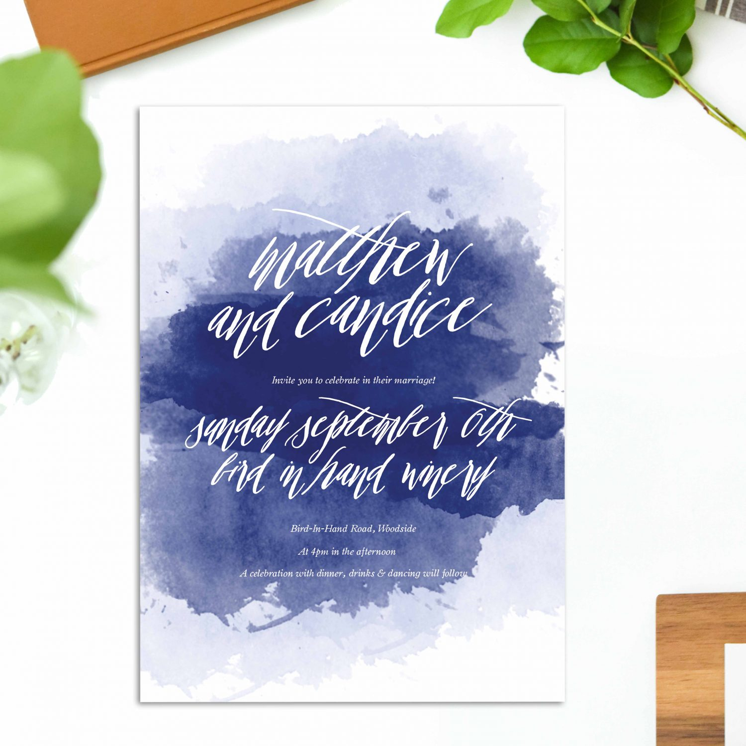 navy blue watercolour wedding invitations sail and swan