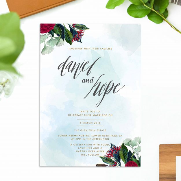 Floral Vintage Wedding Invitations Ruby Red Rose calligraphy Wedding Stationery australia perth sydney brisbane melbourne adelaide sail and swan