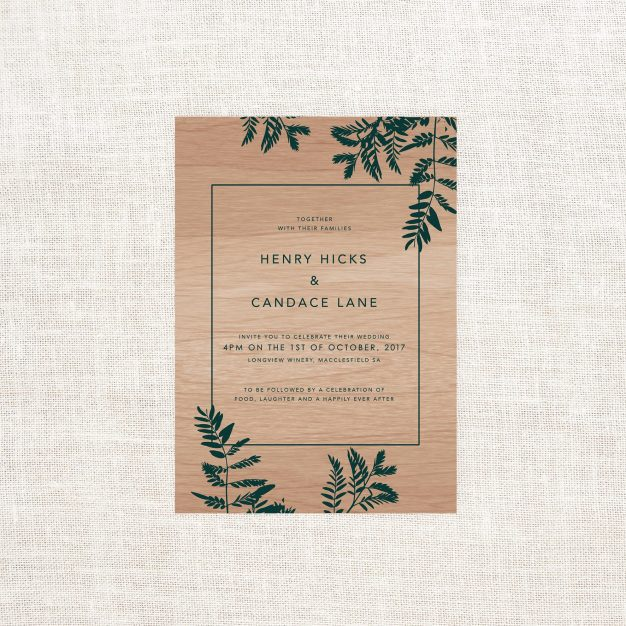 Luscious Fern Wooden Wedding Invitations Sail and Swan Green Leaves Foliage Tropical Wood Grain Custom Wedding Stationery Australia