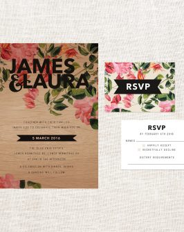Foliage Wooden Wedding Invitations Floral Roses Botanical Pinks Green Bold Romantic Custom Wedding Stationery Australia Garden Greenery Natural Vintage Sail and Swan
