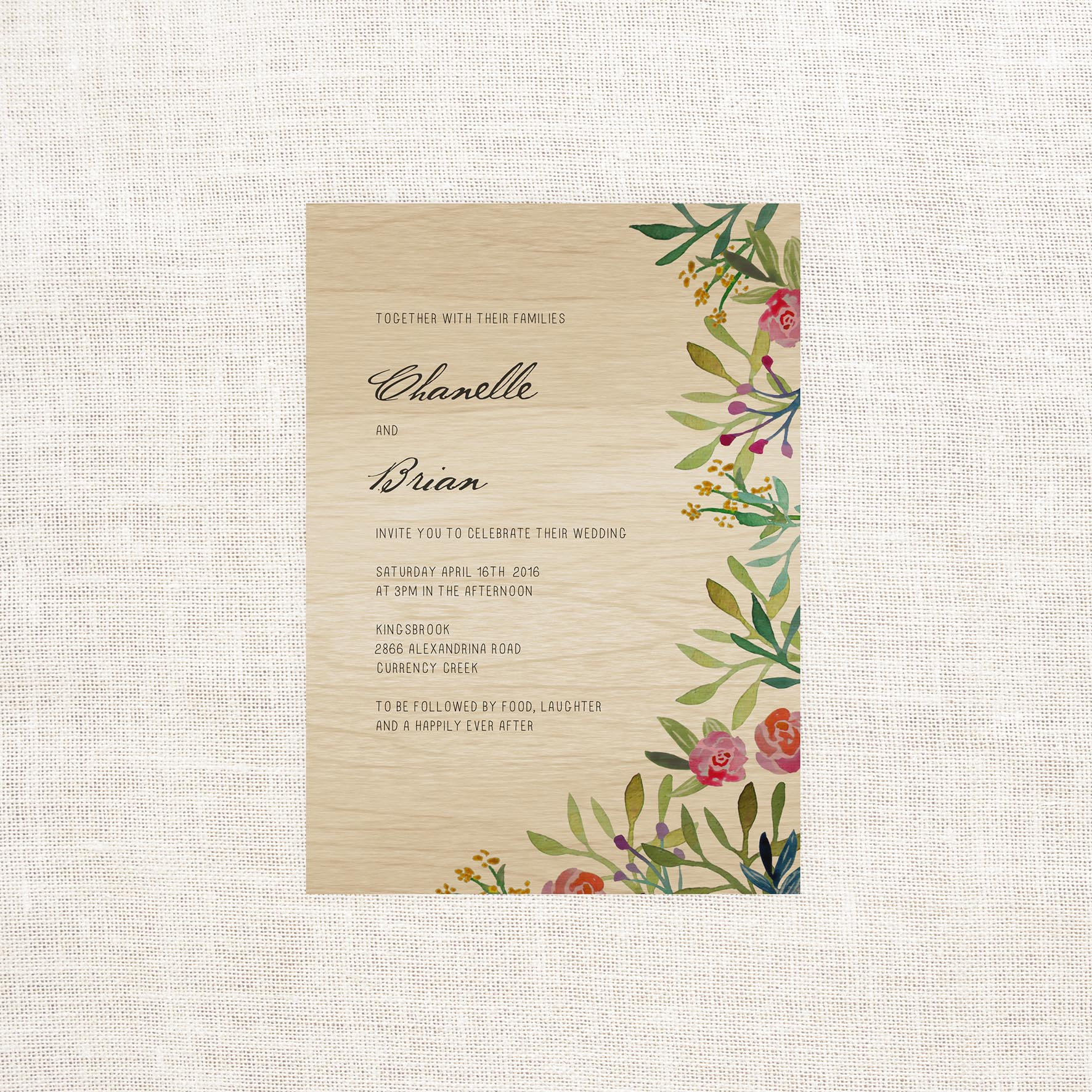 Forest Watercolour Wooden Wedding Invitations - Sail and Swan Studio
