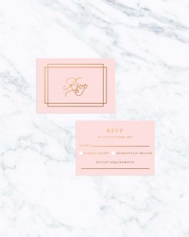 Classic Blush & Bronze Foil Wedding Invitations Simple Border Elegant Script Pink Copper Jewel Tones Wedding Invites Australia