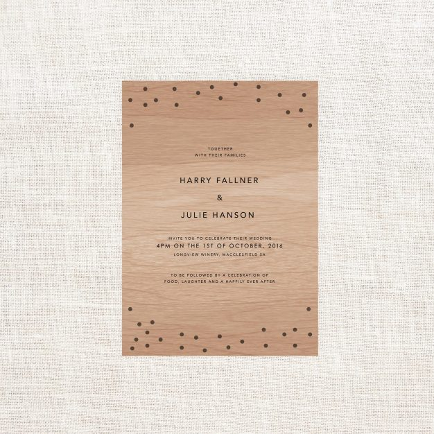 Confetti Wooden Wedding Invitations Wood Grain Custom Wedding Stationery Australia Sail and Swan Dots Simple Modern Clean Contemporary Natural