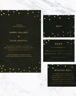 Black and Gold Foil Confetti Luxe Black Card Stock Custom Wedding Stationery Australia Foil Fun Contemporary Modern Wedding
