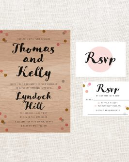 Confetti Colours Wooden Wedding Invitations Pastel Wood Grain Custom Wedding Stationery Australia Sail and Swan Calligraphy Script