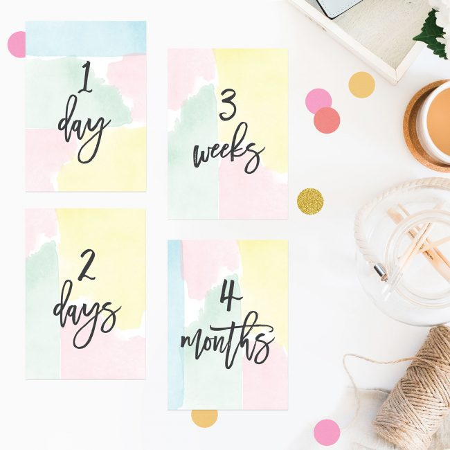 Pastel Watercolour Wedding Milestone Cards Mint Yellow Pink Blue Wedding Inspiration Wedding Ideas Sail and Swan Wedding Planning Milestones Bride to Be Gift Wedding Preparation Engagement Gifts
