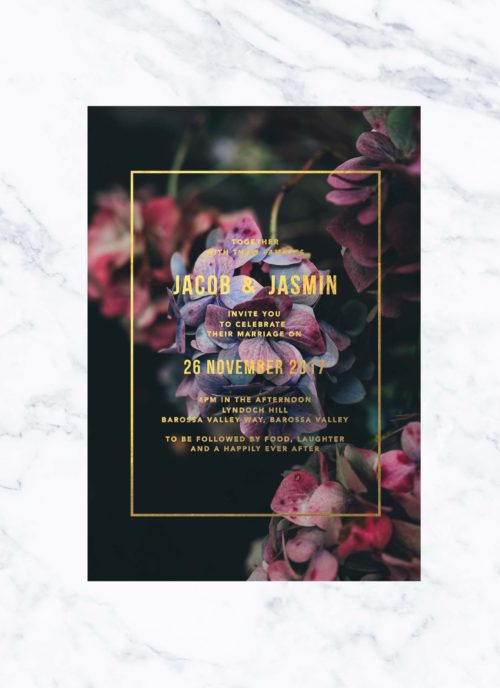 Secret Garden Gold Foil Wedding Invitations Hydrangeas Pinks Purple Custom Wedding Stationery Australia Garden Wedding
