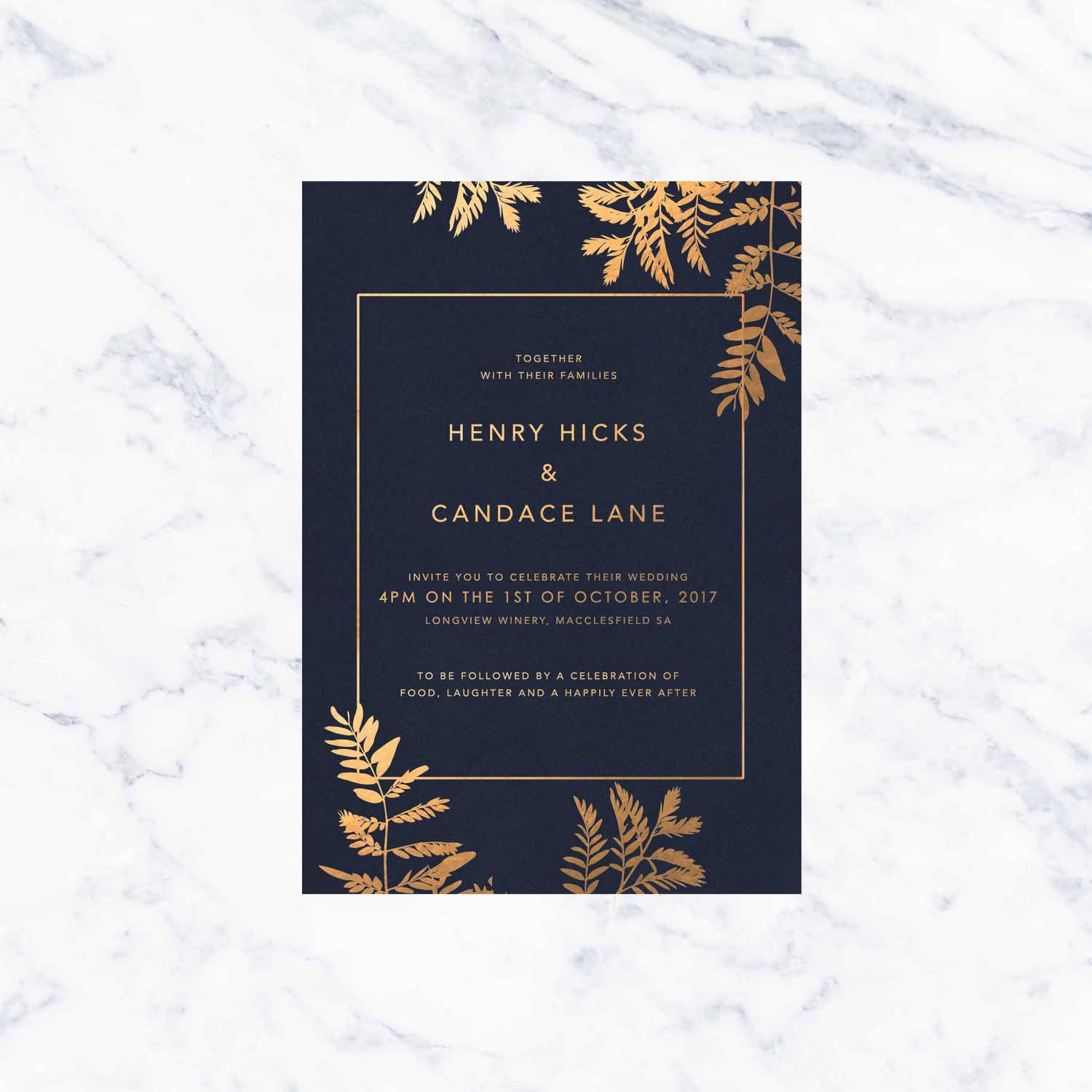 Navy Luscious Fern Foil Wedding Invitations - Sail and Swan