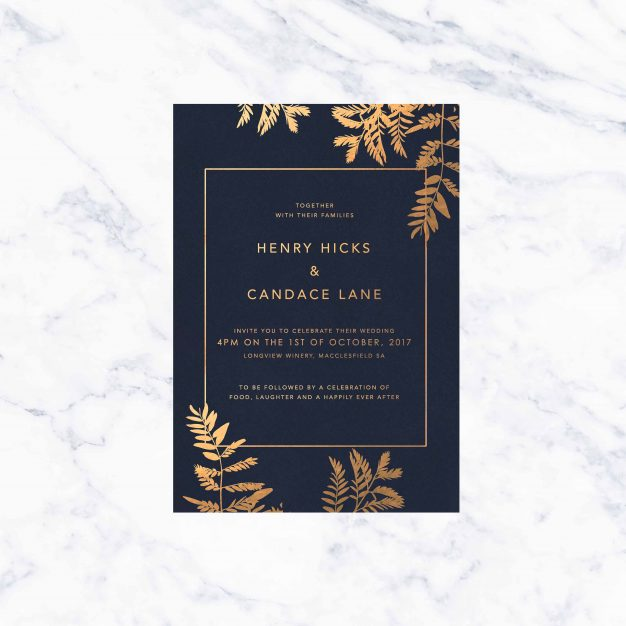 Silver Foil Wedding Invitations: Gold Foil Marble Wedding Invitations