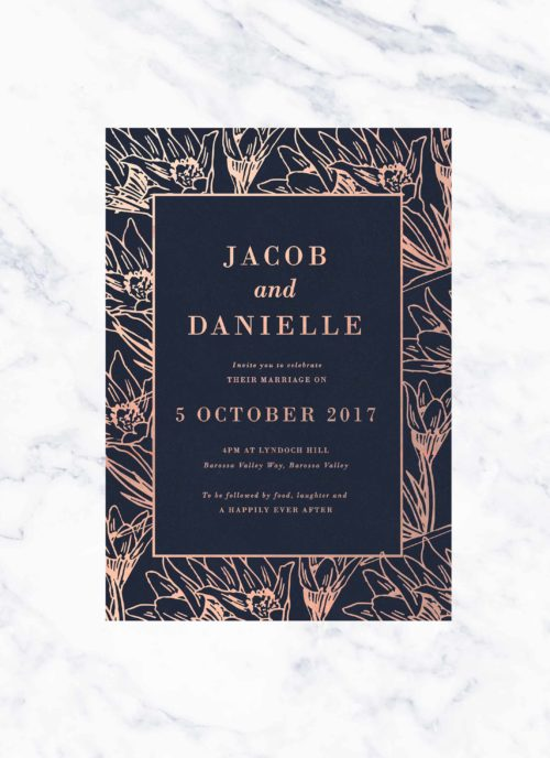 Floral Border Rose Gold Foil & Navy Wedding Invitations Botanical Flowers Contemporary Custom Wedding Invites Austrlalia