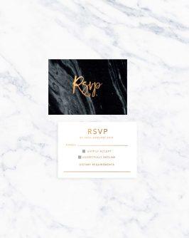 Granite Marble Bronze Foil Wedding Invitations
