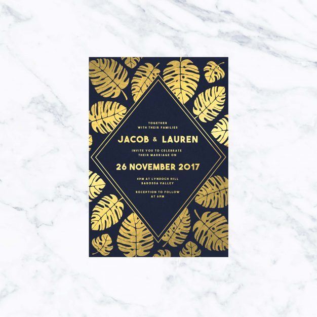 Monstera Leaves - Gold Foil on Navy Wedding Invitations Australia Foil Botanical Leaves