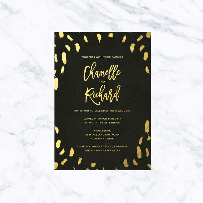 Modern Black Gold Foil Wedding Invitations Custom Wedding Stationery Australia Brush Strokes Calligraphy Contemporary
