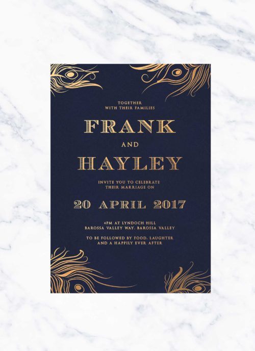 Peacock Feather Foil Wedding Invitations Navy Gold Invites Wedding Invitations Australia Perth Sydney Brisbane Melbourne Sail and Swan Gold Foiling Bronze Feathers Wedding Invitations