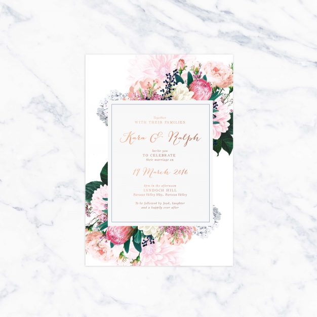 Native Floral Pretty Protea Foil Wedding Invitations Rose Gold Gold Bronze Invitations Australia