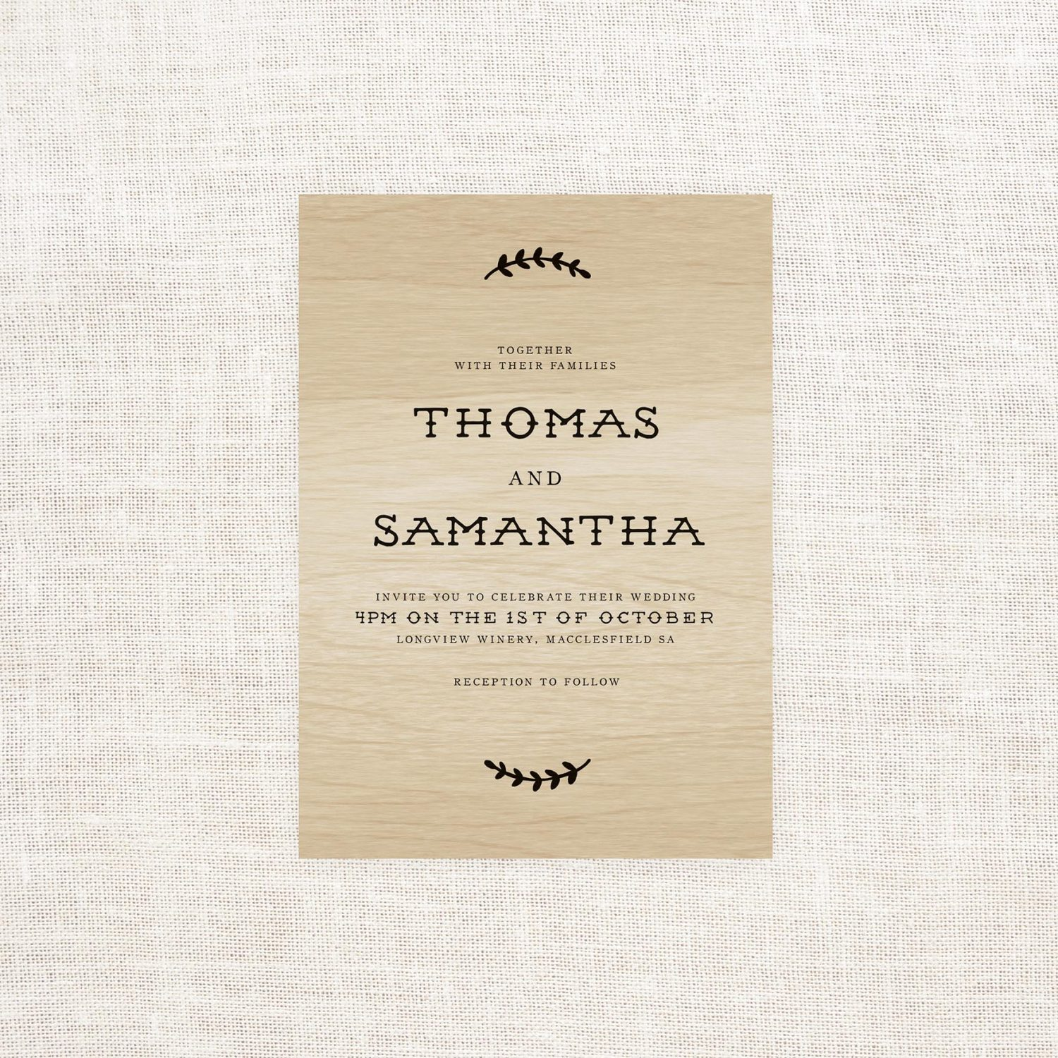Olive Branch Wooden Invitations - Sail and Swan Studio