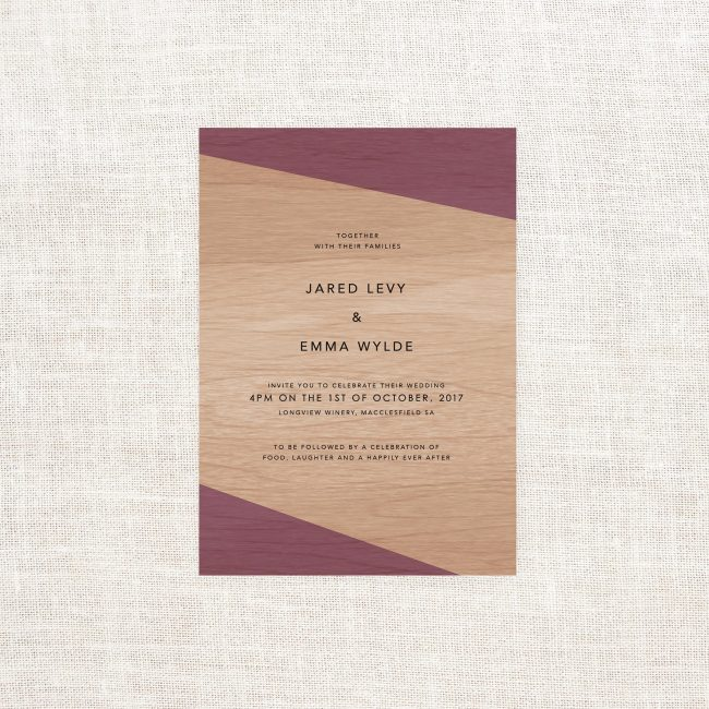 Vineyard Wooden Wedding Invitations Red Wine Purple Red Burgundy Rustic Winery Wood Grain Barrell