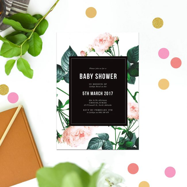 Modern Rose Baby Shower Invitations Black White Floral Contemporary Greenery Foliage Pink Sail and Swan Australia Perth Adelaide Brisbane Melbourne Sydney