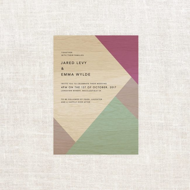 Geometric Colours Wooden Wedding Invitations Sail and Swan Green Purple Triangles Australia Lilac