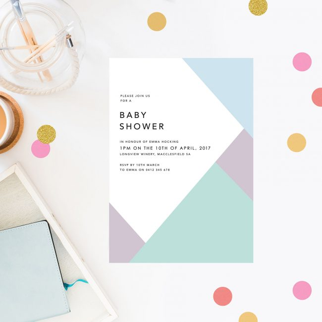 Geometric Pastels Boy Baby Shower Invitations Blue Purple Green Triangles Block Colours Simple Clean Contemporary Design Sail and Swan Australia Adelaide Melbourne Sydney Perth Brisbane
