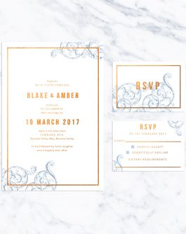 Blue Flourish and Bronze Foil Wedding Invitations Swirl Floret Foil Modern Blue Copper Bronze Gold White Custom Wedding Stationery Australia Sail and Swan
