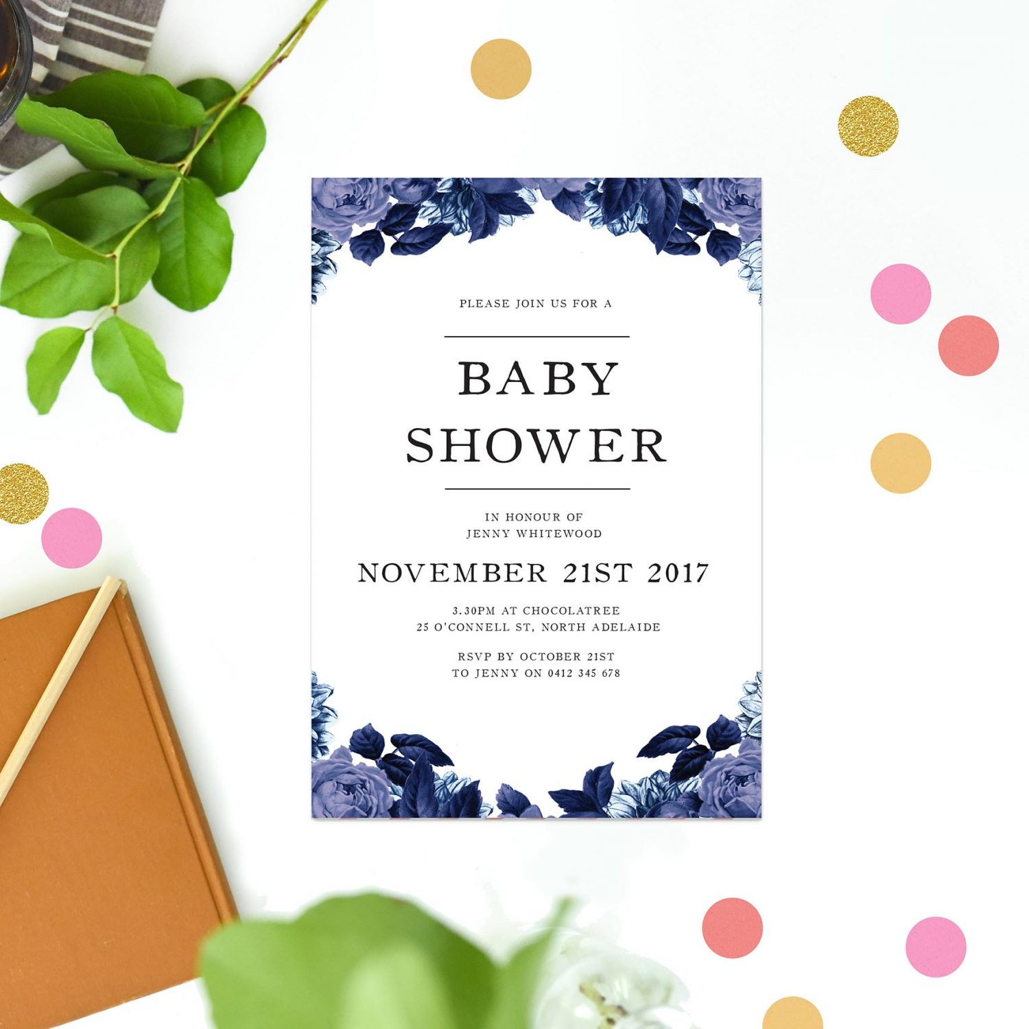 Blue rose baby shower invitations by sail and swan blue rose baby shower invitations filmwisefo