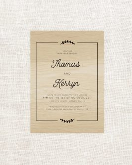 Olive Branch with Border Wooden Wedding Invitations Wood Grain Australia Sail and Swan