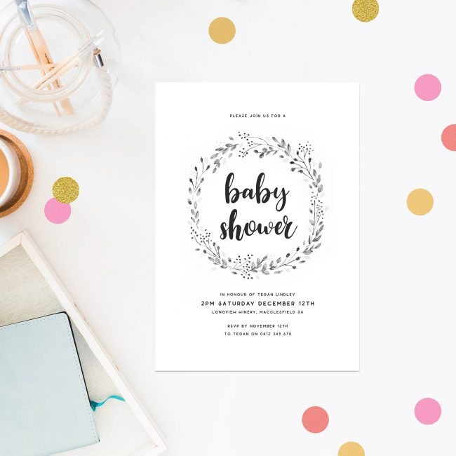 Rustic Wreath Baby Shower Invitations Monochrome Laurel Botanical Vintage Sail and Swan Australia Gender Neutral Melbourne Adelaide Sydney Brisbane Perth Garden