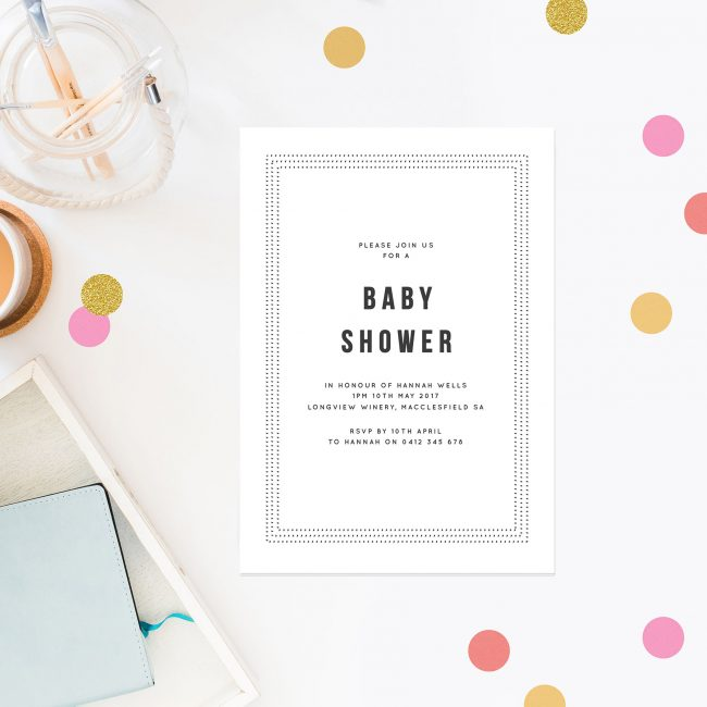 Grey Baby Shower Invites Unisex Baby Shower Invitations Simple Border Simple Writing Modern Writing Baby Shower Invitations Australia Sydney Brisbane Perth Melbourne New Zealand Sail and Swan