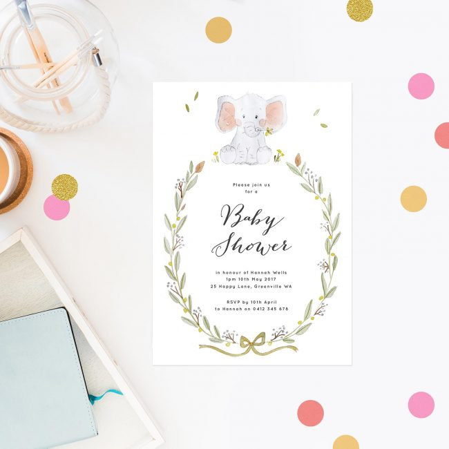 Cute Watercolour Elephant Baby Shower Invitations Watercolour Floral Wreath Sydney Perth Brisbane Melbourne New Zealand Cute Baby Shower Invites Sail and Swan