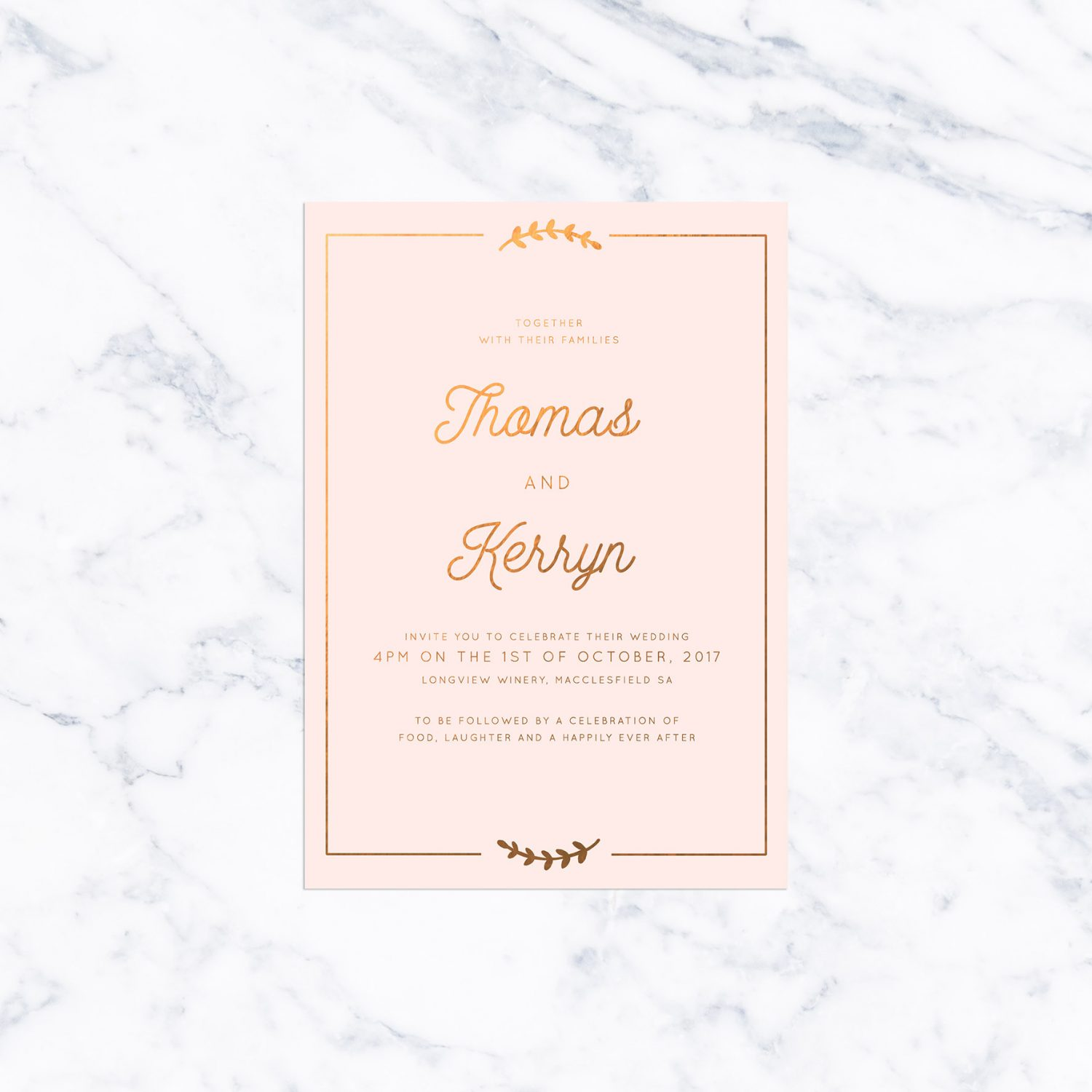 Olive Branch Border Blush and Bronze Foil Wedding Invitations