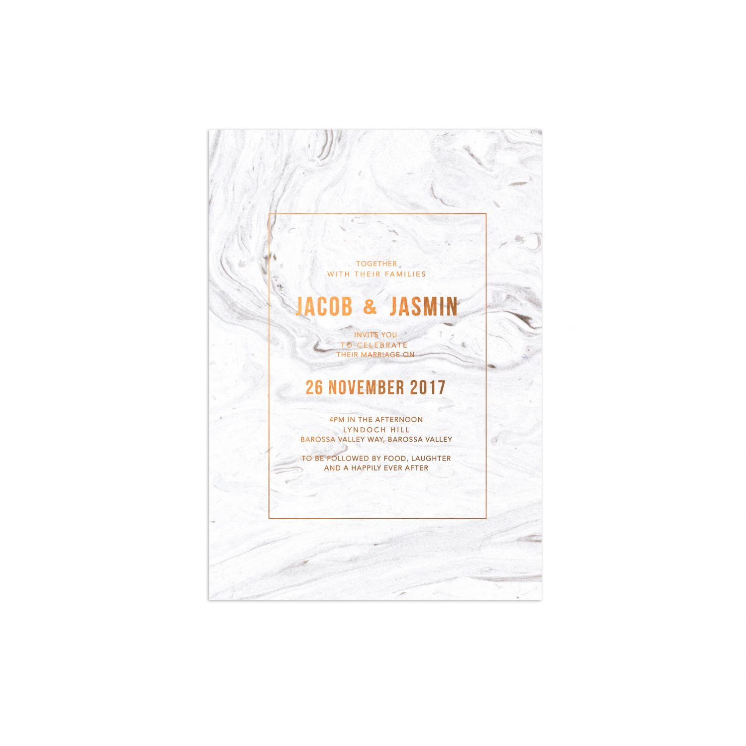 Luxe Marble Swirl Bronze Foil Wedding Invitations Sail And Swan