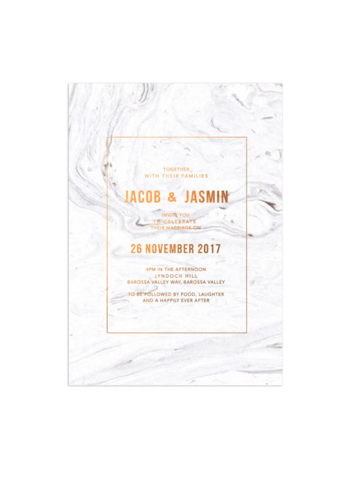 Luxe Marble Swirl Bronze Foil Wedding Invitations Custom Wedding Stationery Australia Precious Stone Monochrome Metallics