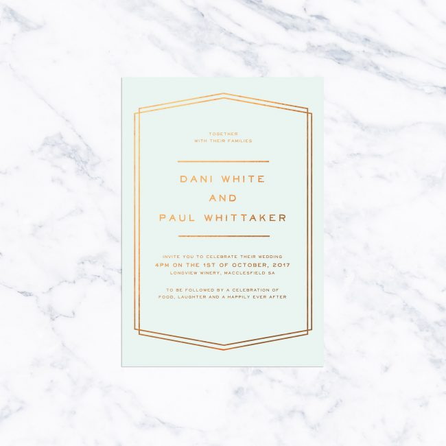 Mint and Bronze Foil Simple Border Wedding Invitations Lines Classic Contemporary Clean Custom Wedding Stationery Australia Pastel Sail and Swan