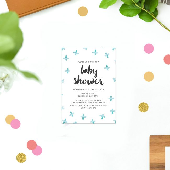Blue Watercolour Baby Shower Invitations Blue Cross Pattern Mint Green Bursh Script Pretty Baby Shower Invites Australia Sydney Perth Brisbane New Zealand Melbourne Sail and Swan