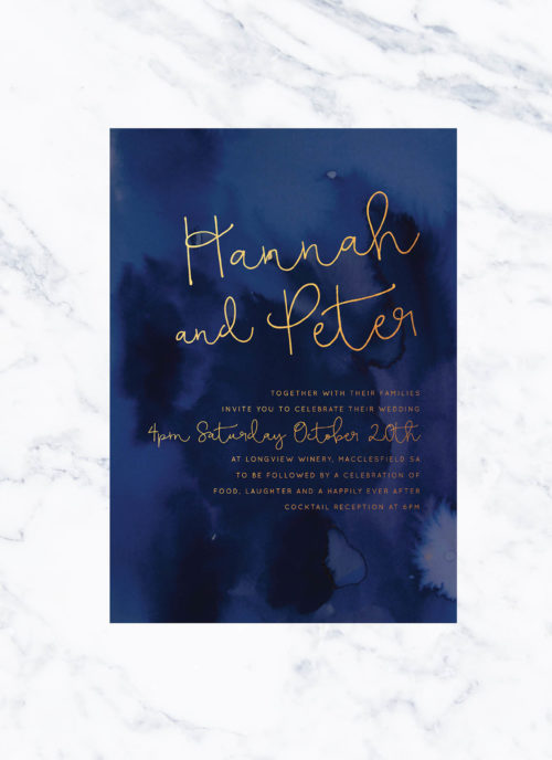 Navy Watercolour & Gold Foil Wedding Invitations Ink Foil Calligraphy Handwritten Script Custom Wedding Stationery Australia Sail and Swan