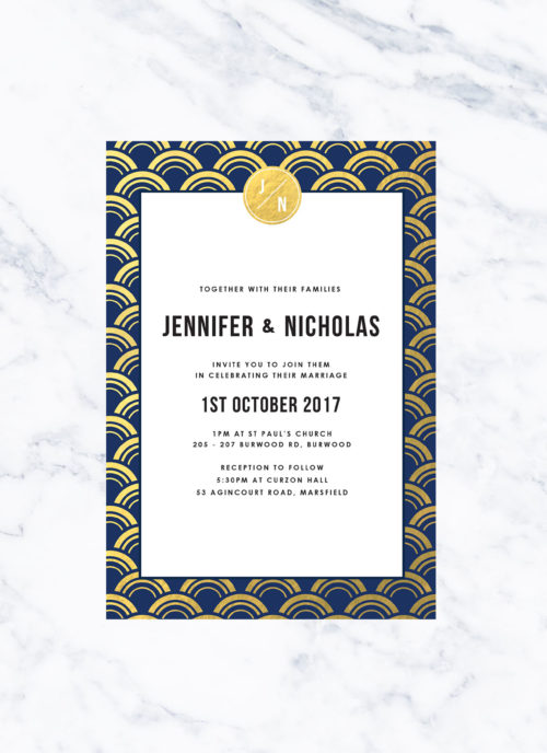 Navy and Gold Foil Art Deco Wedding Invitations Great Gatsby