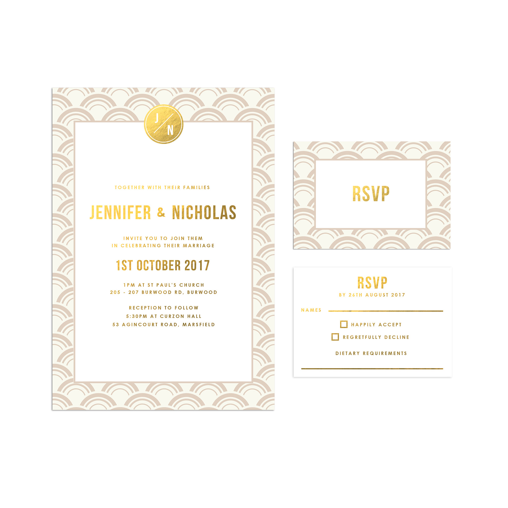 Ivory And Gold Foil Art Deco Wedding Invitations Arches Curves Fan Oriental Pattern Sail Swan: Ivory Deco Wedding Invitations At Websimilar.org