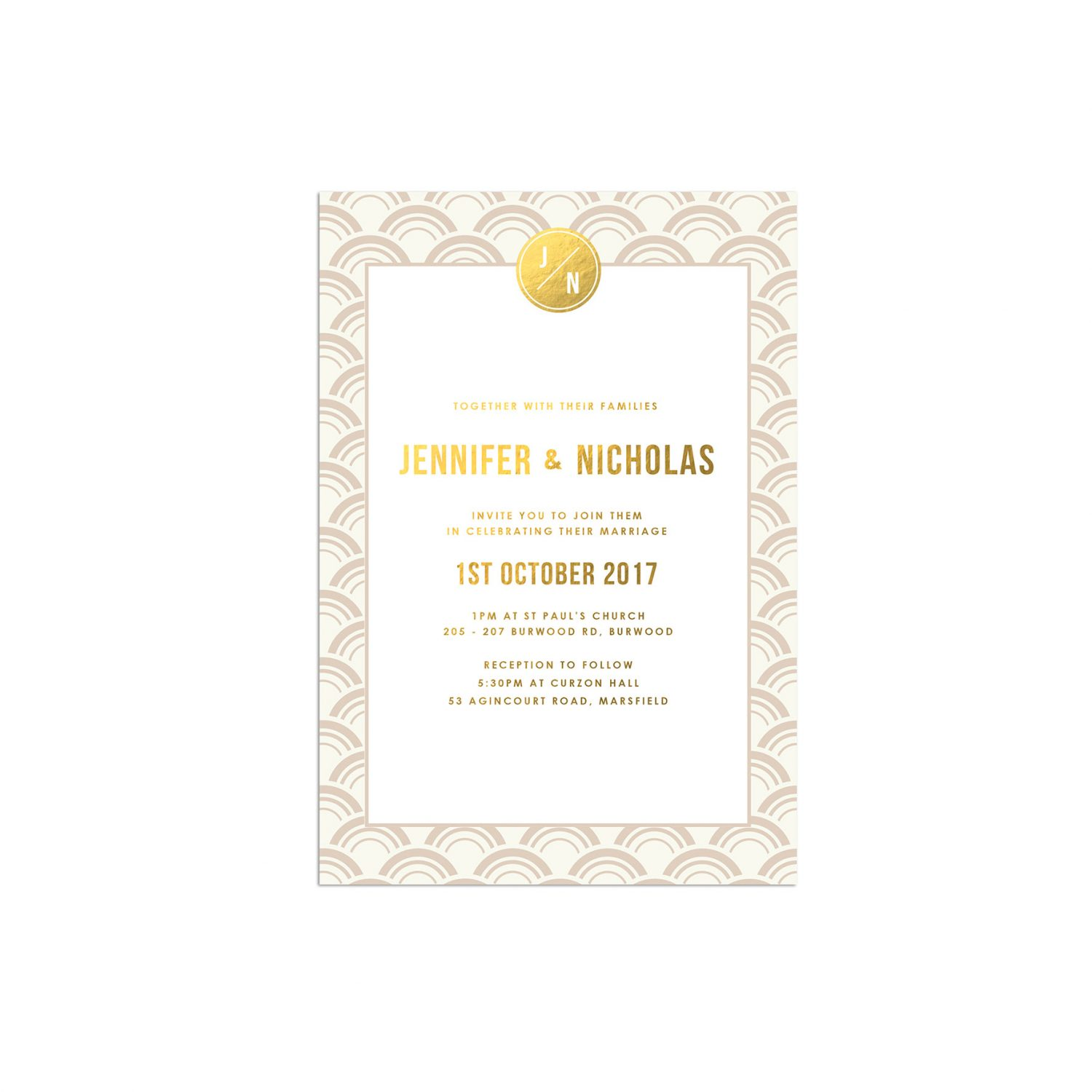 ivory and gold foil art deco wedding invitations
