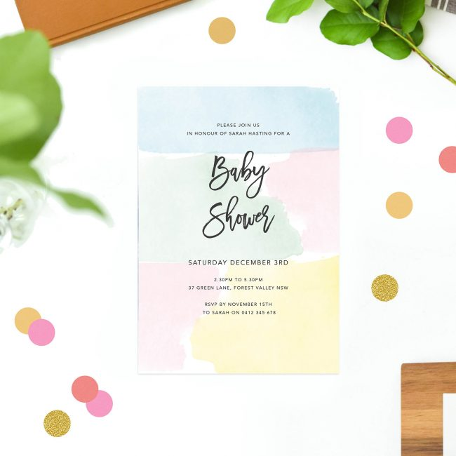 Pastel Baby Shower Invitations Blue Mint Yellow Pink Script Calligraphy Custom Australia