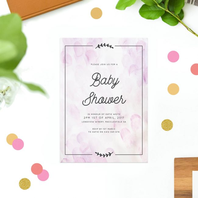 Lilac Baby Shower Invitations